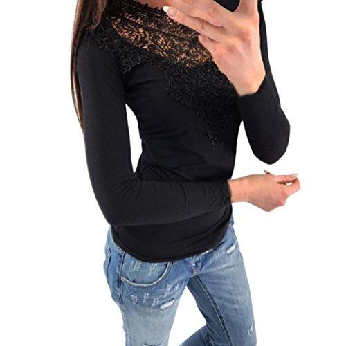 ❤️❤️Langarm Shirt FRÜHLING Damen, Sunday Oberteile Beiläufig Langarm gestreiften Sweatshirt Lose Plaid Hoodies Solide Spitze Pullover (Schwarz, M) (Zeigen Sleeve Stretch Shirt)