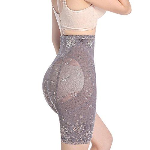 Lover-Beauty Shapewear Damen Body Miederhose Bauch Weg Bodysuit mit Haken Taillenformer Figurformender Grau 1