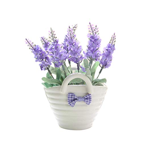 stliche Blume Lavendel Lebendige Flora Behandelt Pot Fliege Bonsai Hochzeit Party Decor Dunkellila ()