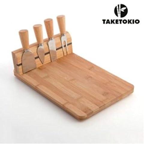 Käsebrettset aus Echtholz , Bambus, bestehend aus 5 Teilen