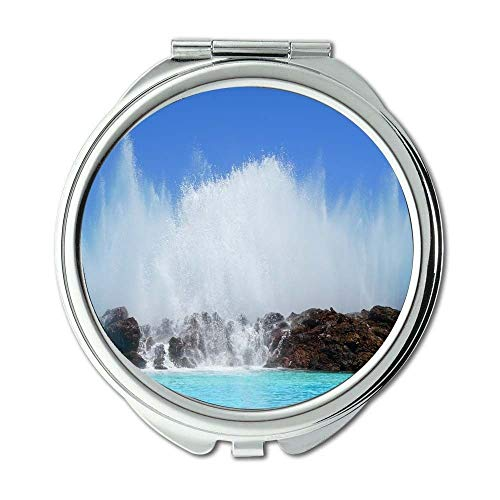 Yanteng Spiegel, Schminkspiegel, Strand blau HD Wallpaper, Taschenspiegel, tragbarer Spiegel