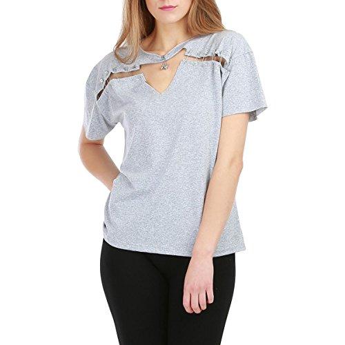 La Modeuse Shirt Femme Col Rond Gris