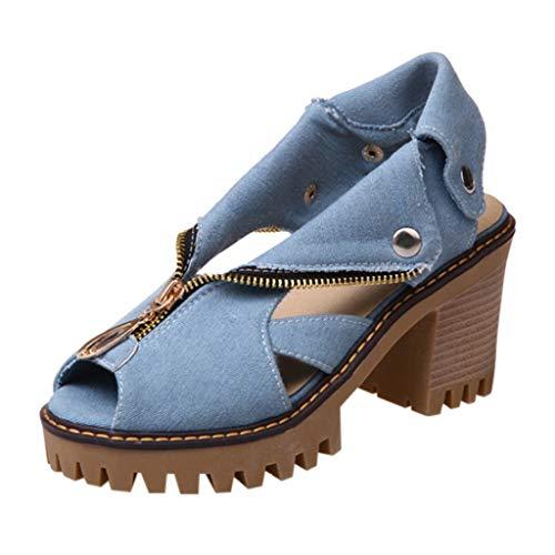 Junjie Damen Cuffed Denim High Heel Sandalen Thick Platform Fish Mouth Freizeitschuhe römischen Sandalen Sandalen weiblichen Sommer Blau, Dunkelblau 35-43 EU -