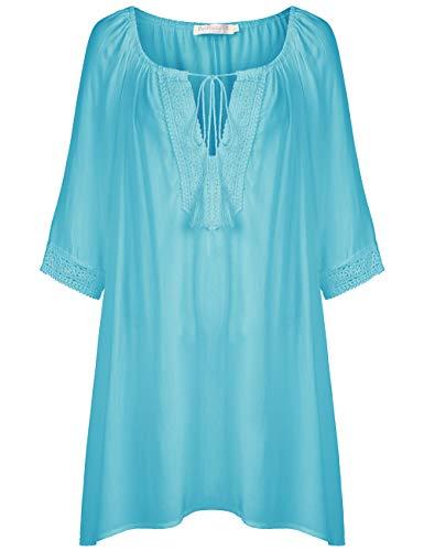 BaiShengGT Damen Strandkleid Einheit Größe Kleidung Strand Hemdkleid Cover Up Grün one Size