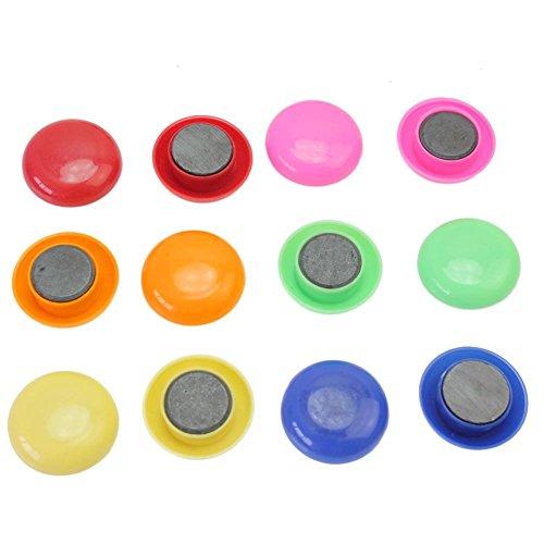 Zanasta 12 Magnete für Magnettafel, Kühlschrank, Whiteboard, Büro, Pinnwand / Kleine Universal Magnete / Rund und farblich sortiert in vielen Farben - Bunt/Farbig