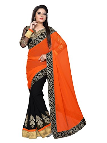 Designer Goregate + Chiffon Sarees With Velvet + Heavy Work +sleeve work Blouse Material