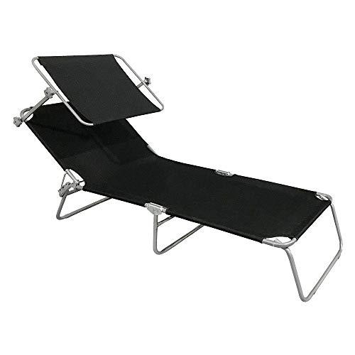 Aufun Sonnenliege Klappbar mit Dach Gartenliege Liegestuhl Relaxliege Sonnendach und Rückenlehne Verstellbar 188 x 56 x 27 cm, Freizeitliege Strandliege Camping Liege (Schwarz mit Dach)
