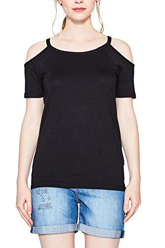 ESPRIT Damen T-Shirt 077EE1K006, Schwarz (Black 001), Small