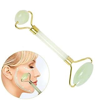 Jade Roller Massager, Facial Massager Skin Roller with Double Rejuvenate Neck Skin Jade Beauty Tool