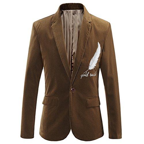 ZhiYuanAN Uomo Elegante Blazer Giacca Chic Ricamato Piuma Abiti Giubbotto Moda Cappotto Di Affari Outwear Coat Casual Slim Fit Vestito Tops Cachi