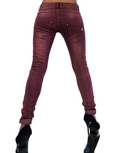 Damen Jeans Hose Boyfriend Damenjeans Harem Baggy Chino Haremshose L368, Größen:34 (XS), Farben:Burgunder -