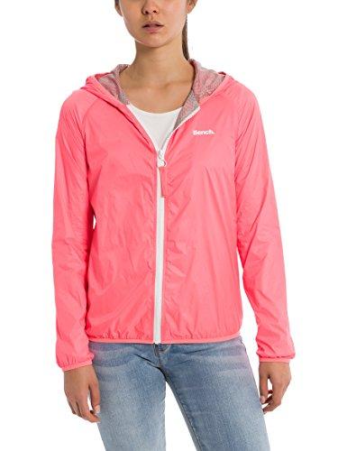 Bench Damen CORE Easy Windbreaker Regenjacke, Rosa (Neon Pink Pk11482), Large (Herstellergröße: L) Neon Windbreaker