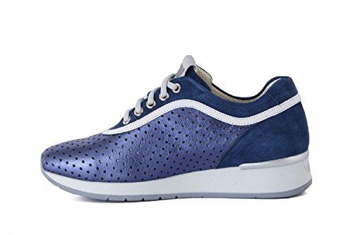 Melluso Walk Techno Agata Sneaker Donna in Pelle Traforata R2902 Blu (Denim)