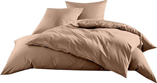 Mako-Satin Baumwollsatin Bettwäsche Uni einfarbig zum Kombinieren (Kissenbezug 80 cm x 80 cm, Hellbraun)