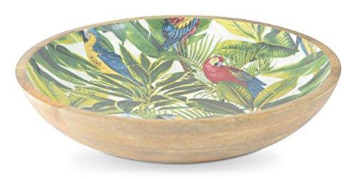 Tropische Deko Salatschale 38cm mit exklusiven sommerlichen Muster, Holzschale, Dekoschale, Salatschüssel, Blau mit Holz, Beschichte