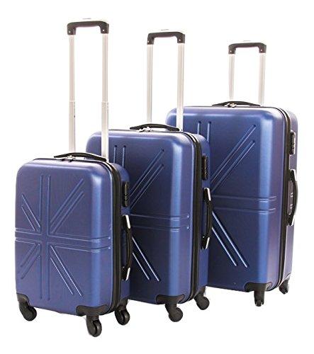 Dublin set da 3 pezzi valige trolly in ABS e policarbonato con 4 ruote girevoli 360° gradi colori vari (Darck Blu)