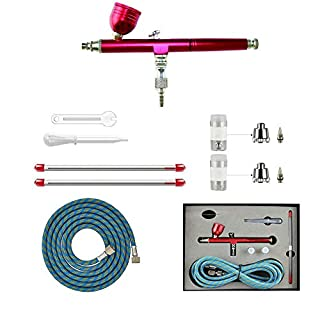 ABEST NEW Professional 0.2mm\0.3mm\0.5mm Dual action AirBrush Spray Paint Gun Kit Complete Set with hose, nozzle, needle for model, hobby