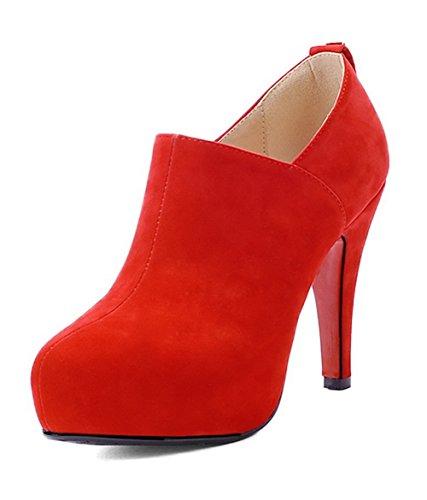VogueZone009 Donna Tacco Alto Puro Punta Chiusa Cerniera Stivali con Metallo Rosso