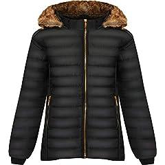 c0fad9b2f39c2a Puffer jacket. WearAll Women's Plus Long Sleeve Faux Fur Collar Hood Puffer  Jacket Ladies Coat Zip ...