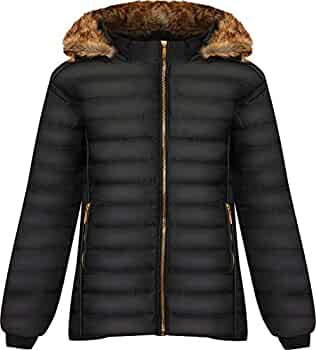 FASHION DIVA Kids Quilted Bubble Puffer Padded Long Sleeve Zip UP Faux Fur Collar Coat Jacket
