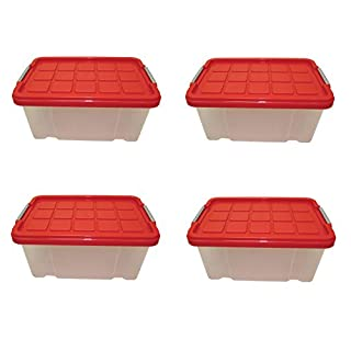 Artecsis 4 x Storage boxes with lid, 30 x 19 x 14 cm, plastic, stackable, capacity 5 litres