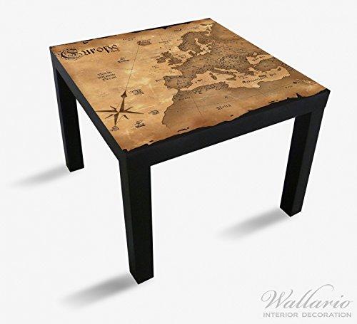 Wallario Möbeldesign / Aufkleber, geeignet für Ikea Lack Tisch - Alte Weltkarte, Karte von Europa in englisch in 55 x 55 cm Europa Karte Aufkleber