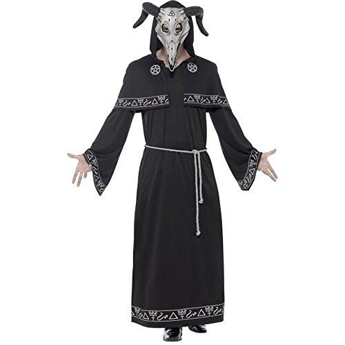 Erwachsene Herren Robe Für Kostüm Dämonen - Smiffys Herren Kostüm Sektenanführer Dämon Robe mit Maske Halloween Gr.M