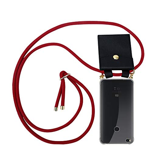 Cadorabo Funda con Cuerda para Xiaomi Mi MAX 2 en Rojo RUBÍ - Cubierta Protección Collar para Colgar di TPU Silicona Transparente con Anillos OROS, Cordon y Estuche Removible