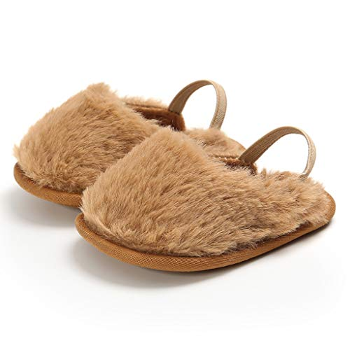 2019 Nuovo Ciabatte con Pelliccia da Bambini Memory Foam Babucce Morbide Pantofole Invernali - Calde Morbido Anti-Scivolo Peluche Scarpe Mezza Pantofola(11,Marrone)