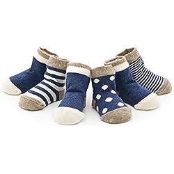 Ueither Infantil Bebé Niñito Acogedor 4 estilos Calcetines lindos para niñas y niños 4 pares (Azul, M (1-3 Años))