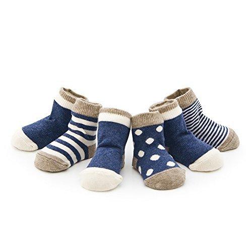 Ueither Säugling Baby Kleinkind 4 Sorten Kuschelige und Niedliche Socken für Mädchen und Jungen (4 Paar) (Blau, M (1-3 Jahre)) (Lycra-2 Streifen)