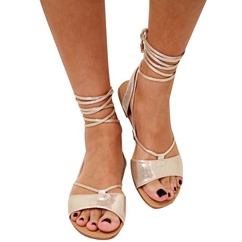 0be0d8595eaf2 Womens Ladies Tie Up Gladiator Flat Sandals Strappy Summer Metallic Shoes  Size - Buy Online in Oman. | Apparel Products in Oman - See Prices, ...