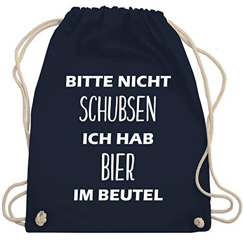 Festival Turnbeutel - Bitte nicht schubsen ich hab Bier im Beutel - Unisize - Navy Blau - WM110 - Turnbeutel & Gym Bag