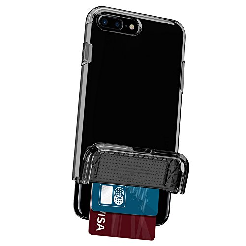 iPhone 7 Plus Hülle, Spigen® [Flip Armor] Kartenfach [Gunmetal] Doppelte Schutzschicht mit Luftpolster-Kantenschutz - Card Holder Schutzhülle für iPhone 7 Plus Case, iPhone 7 Plus Cover - Gunmetal (04 FA Diamant Schwarz