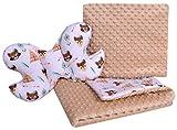 Babydecke Krabbeldecke Set 3in1 100% Baumwolle MINKY Kinderdecke 55x75 + 35x30cm flaches Kissen und Anti-Schock-Kissen Schmetterling Medi Partners (Indianer mit beigen Minky)