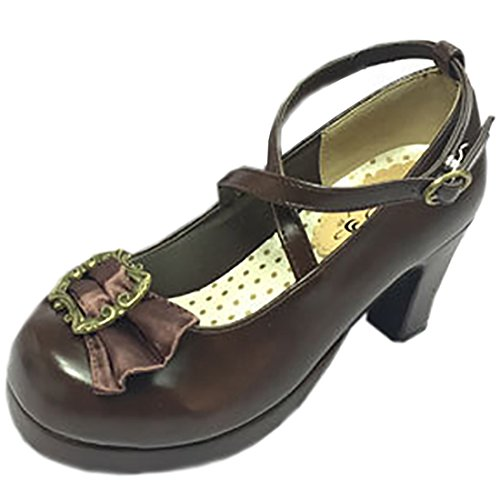 Partiss Damen Black Gothic Lolita High-top Pumps PU Boots Casual Klassischen Retrostil Schuhen Platform Pumps Hochzeit Tanzenball Maskerade Pumps mit Bowknots Schwarz