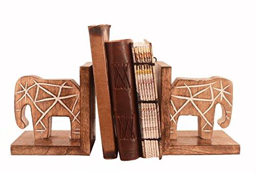 Purpledip Buchstützen, aus Holz, mit Regal Organizer: Mighty Elefanten-Dekor Geschenk-Liebhaber (11293) (Standard-bücherregal)