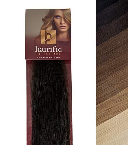 hairific Keratin Extensions Echthaar, Schwarzbraun - 50cm, Bonding Haarverdichtung- und Verlängerung, 100% Remy Hair, Salon Qualität, 50 Strähnen