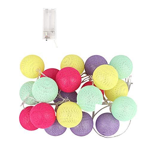 TianranRT 3 Meter 20 Baumwolle Ball String Beleuchtung Fee Hängend Hochzeit Schlafzimmer Leben Zimmer (D)