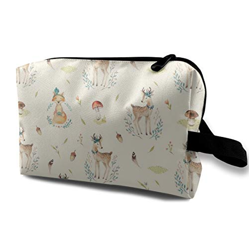 461b4f328e37 Watercolor Deer and Fox Travel Makeup Cute Cosmetic Case Organizer Portable  Storage Bag for Women