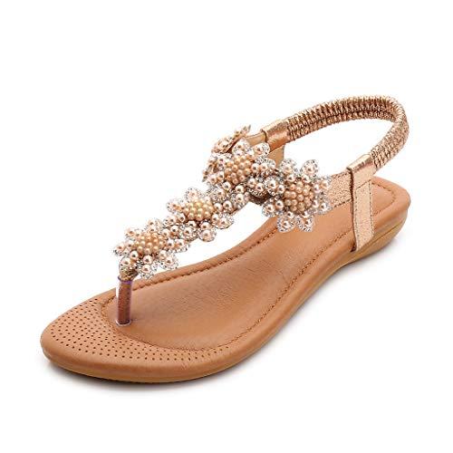 Thong Heel Schuh (Makefortune-Damenschuhe Frauen Sommer Böhmen Low Wedge Sandalen Post Thong Flip Flops Hausschuhe Bequeme Strand Schuhe für Mädchen Ldies Wide Fit mit Strass Perlengröße)