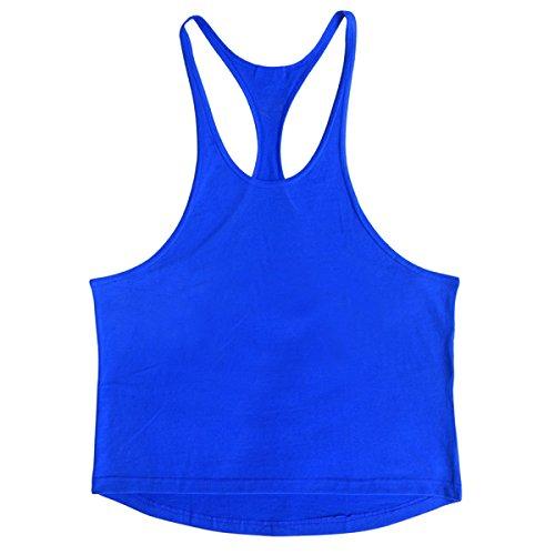 Uomo Cotone Colore Solido Cotone Fitness Canotta Vest (2 Confezioni) DarkBlue
