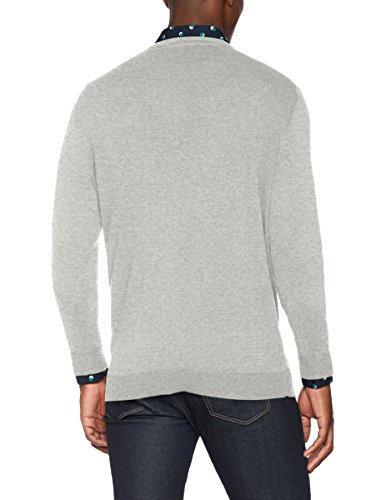 SELECTED HOMME Herren Pullover Shdtower Cot/Silk V-Neck Noos Grau (Light Grey Melange)