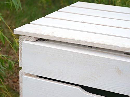 2er Mülltonnenbox / Mülltonnenverkleidung 120 L Holz, Transparent Geölt Weiß - 8