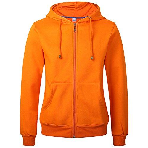 WTUS Felpa Zip con Cappuccio e Tasche - INTERNO FELPATA - Manica Lunga Donna Arancione