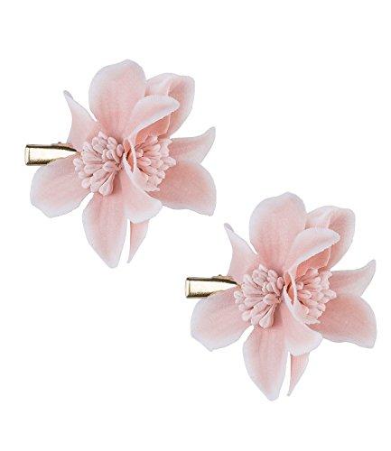 SIX Sommer 2er Set, Haarspange, Haar Clips mit kleinen Textil-Blumen in rosa (24-639)