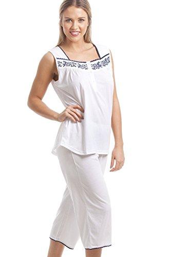 Pyjama classique sans manches - motif floral bleu marine - blanc Blanc