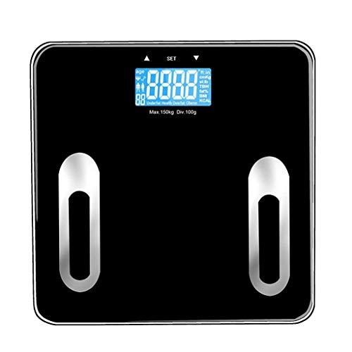 IRVING Hogar Adulto Escala de Grasa Corporal Inteligente Escala de pesaje de Grasa Corporal Escala de medición de Grasa Escala electrónica Multa (Color : Negro)
