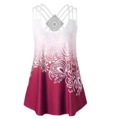 ESAILQ Damen T-Shirt Ladies Long Back Shaped Spray Dye Tee(XL,Wein) (Long Tops Womens)