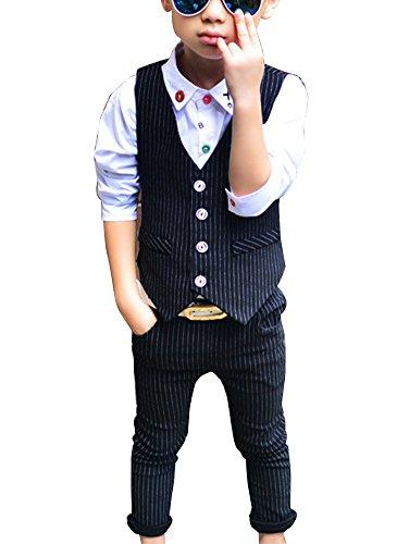 GladiolusA Jungen 2 Stück Formal Anzug Sätze Festliche Kleidung Hochzeit Weste + Hosen Schwarz/110